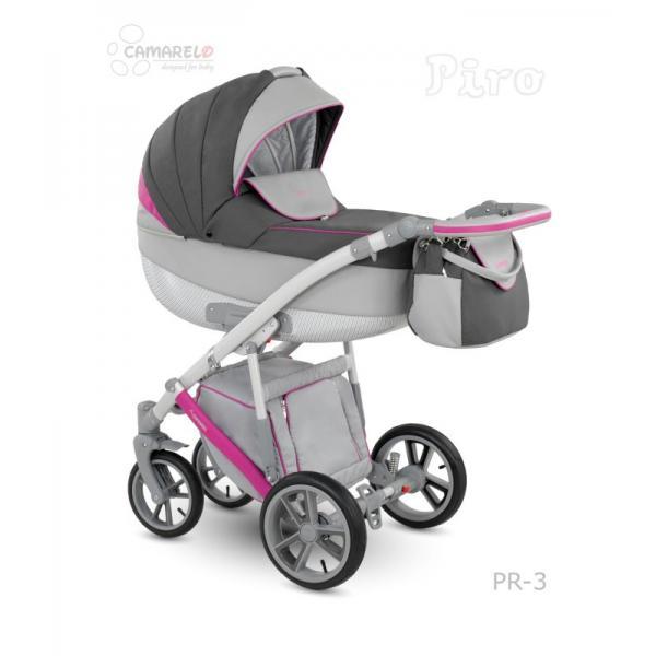 Universalūs vežimėliai Camarelo Piro 3in1 rožinė su šviesiai pilka