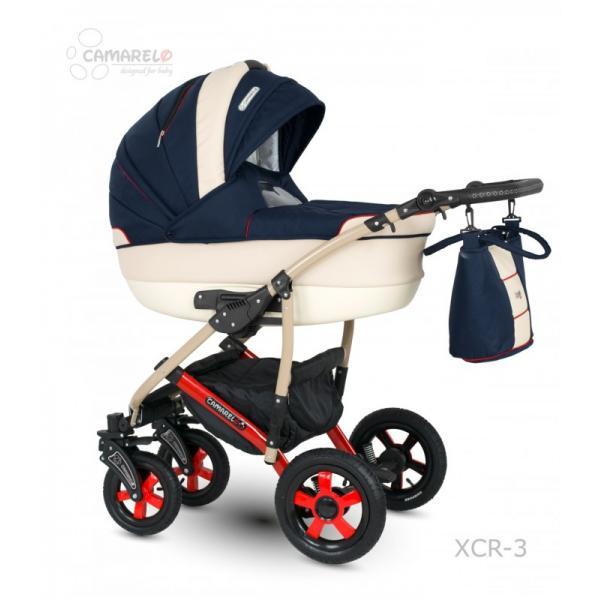 Universalus vežimėlis CAMARELO CARMELA 3in1 tamsiai mėlyna su raudona juostele
