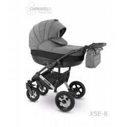 Universalus vežimėlis CAMARELO SEVILLA 3in1 tamsiai pilka su pilka juostele