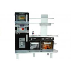 Daugiafunkcinė moderni medinė virtuvėlė su indaplove ir orkaite