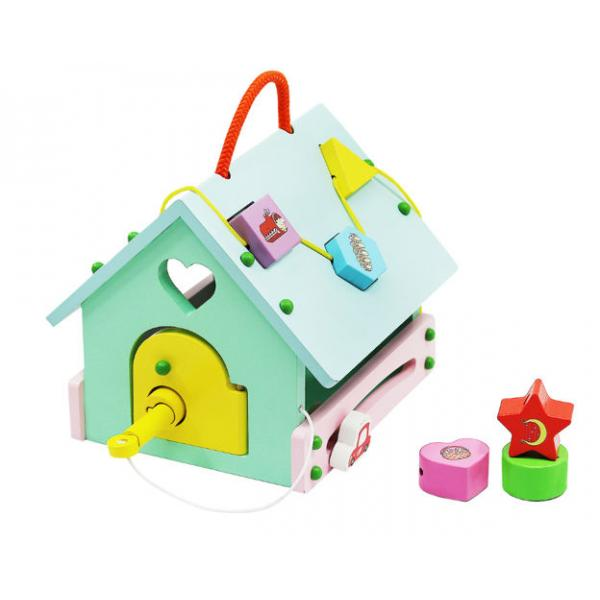 Interaktyvus - multifunkcinis medinis vaikiškas namelis