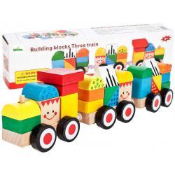 Medinis traukinys su kaladėlėmis - smile