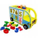 Lavinamasis medinis autobusiukas su plaktuku ir skaičiais