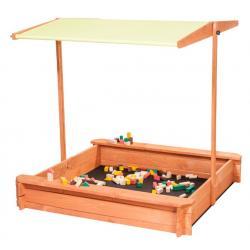 Smėlio dėžė su stogeliu ir dangčiu, 118 x 118 x 118 cm citrinos spalvos