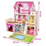 Lėlių namelis su baldeliais ir LED apšvietimu 90 cm. aukščio