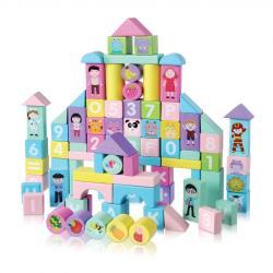 Lavinamosios medinės kaladėlės 100 vnt. Eco toys Miestas