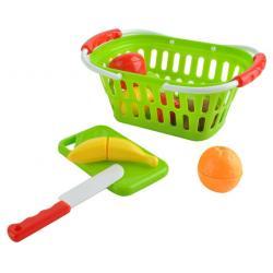 Žaislinės pjaustomos daržovės ir vaisiai krepšelyje
