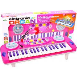Pianinas sintezatorius su mikrofonu ir 37 klavišais - rožinis