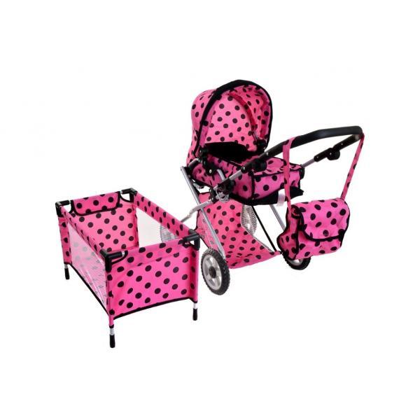 Lėlių vežimėlis su priedais 3in1 Rose