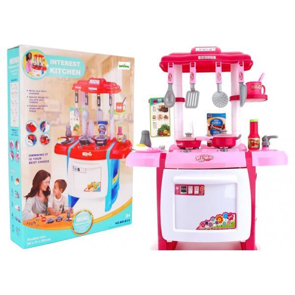 Vaikiška Virtuvėlė su garsais ir 19 aksesuarų - rožinė