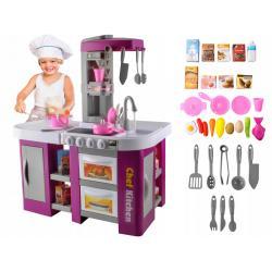 Vaikiška virtuvėlė su orkaite, šaldytuvu ir indaplove +53 vnt. priedų
