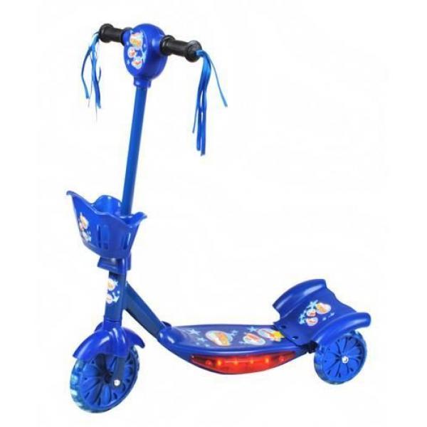 Triratis paspirtukas su krepšeliu ir muzikytėmis - mėlynas